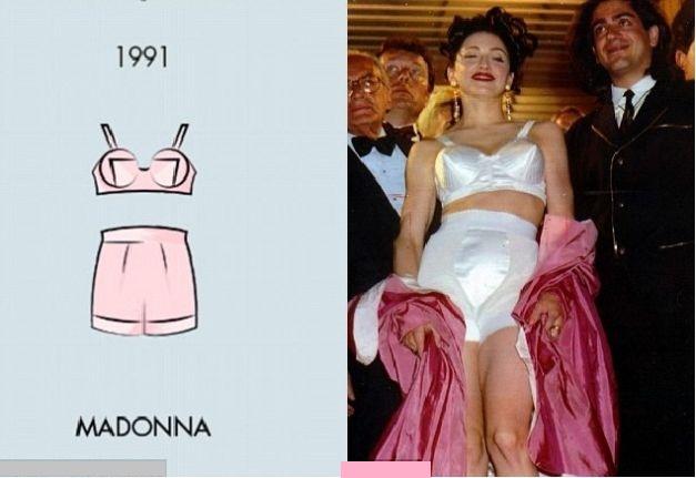 Madonna a păşit aproape goală pe covorul roşu de la Cannes, în 1991