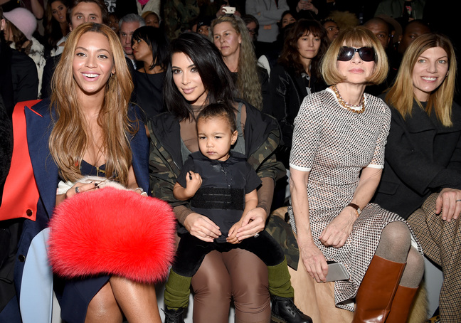 Beyonce, Kim Kardashian with daughter North and Anna Wintour attend the adidas Originals x Kanye West YEEZY SEASON 1 fashion show during New York Fashion Week Fall 2015