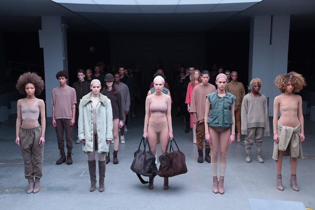 Models walk the runway at the adidas Originals x Kanye West YEEZY SEASON 1 fashion show during New York Fashion Week Fall 2015 at Skylight Clarkson Sq on February 12, 2015 in New York City