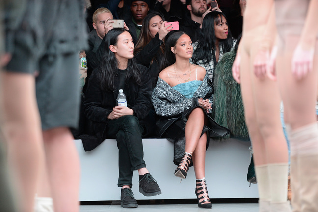 Alexander Wang(L) and Rihanna attend the adidas Originals x Kanye West YEEZY SEASON 1 fashion show during New York Fashion Week Fall 2015 at Skylight Clarkson Sq on February 12, 2015 in New York City